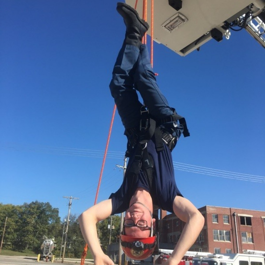 Atchison Fire Department Intern and Maur Hill - Mount Academy student Blake Mispagel training with fire/rescue crews on high angle and confined space rescue October 20, 2017